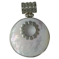 Sterling Silver Mother of Pearl Large Circle pendant