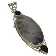 Sterling Silver Garnet Rudiated Quartz Pendant