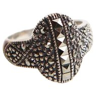 Sterling Silver with 16 Round and 8 Square Marcasite Stone Ring