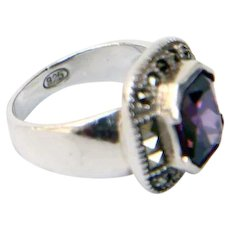 Sterling Silver & Marcasite with Synthetic Amethyst Ring