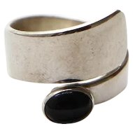 Sterling with Black Oval Onyx Ring