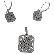 Sterling Silver Pave Cubic Zirconia Designer Earrings and Pendant Set