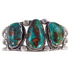Navajo – Tom David, Sterling Silver & High Grade Pilot Mountain Turquoise Bracelet C. 1970s