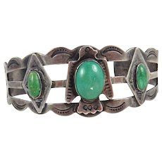 Fred Harvey Era – Desert Gem Shop – Sterling Silver & Turquoise bracelet. C. 1940s