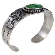 Navajo – Fred Harvey Era Sterling Silver With Green Turquoise Buffalo Bracelet – c. 1940s