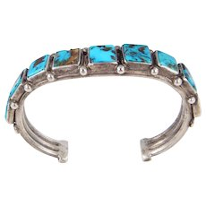 Navajo or Pueblo – Sterling and Square Turquoise Row Bracelet – C. 1920-30s.