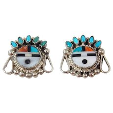Zuni - Roger Cellicion, Sterling and Multi Stone Inlay Sunface Earrings. C. 1950s