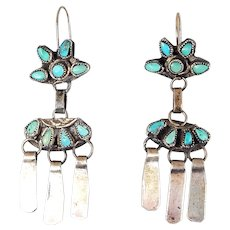 Zuni Sterling  and Turquoise Petit Point Dangle Earrings – c. 1930-40s