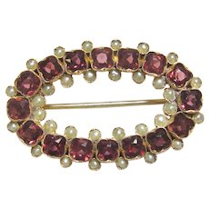 14K Yellow Gold Natural Red Rhodolite Garnet And Natural Pearl Brooch 1880's Victorian