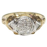 14K Yellow And White Gold Single Cut Diamond Ring 0.20 Cts 1940's Vintage