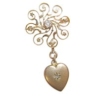 14K Yellow Gold 0.16 Ct Mine Cut Diamond Brooch With 10K Heart Charm 1900's Edwardian