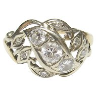 14K Yellow And White Gold 0.20 Ct European Cut Diamond Ring 0.50 Cts Total 1930's Vintage