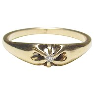 10K Yellow Gold 0.02 Ct Mine Cut Diamond Solitaire Ring 1890's Victorian