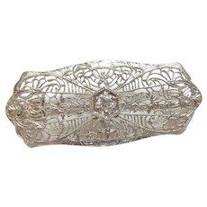 14K White Gold 0.16 Ct European Cut Diamond Filigree Brooch 1930's Vintage