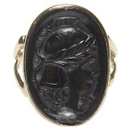 10K Yellow Gold Hand Carved Soldier Head Onyx Cameo Ring 1900's Edwardian