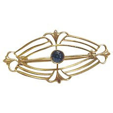 10K Yellow Gold 0.10 Ct Synthetic Round Blue Sapphire Brooch Pin 1910's Edwardian