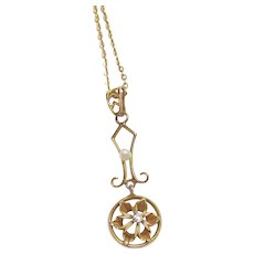 10K Yellow Gold 0.02 Mine Cut Diamond Natural Pearl Lavaliere Pendant And Chain 1890's Victorian
