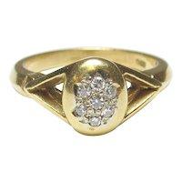 18K Yellow Gold Seven Single Cut Diamond Ring 0.10 Cts 1940's Vintage