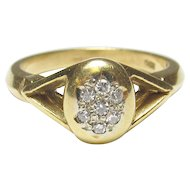 18K Yellow Gold Seven Single Cut Diamond Ring 0.10 Cts 1940's Vintage