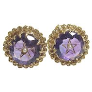 14K Yellow Gold Natural Purple Amethyst Seed Pearl Star Earrings 5.00 Cts 1940's Vintage