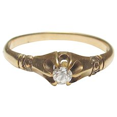 14K Yellow Gold 0.08 Ct Mind Cut Diamond Solitaire Ring 1890's Victorian