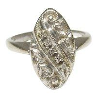 14K White Gold Five Single Cut Diamond Ring 0.05 Cts 1940's Vintage