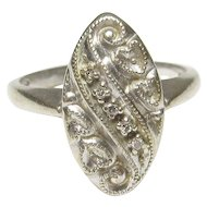 14K White Gold Five Single Cut Diamond Ring 0.05 Cts 1940's Vintage