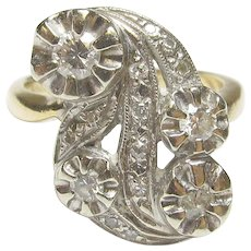 14K Yellow And White Single And Brilliant Cut Diamond Ring 0.30 Cts 1940's Vintage