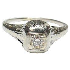 18K White Gold 0.04 Ct European Cut Diamond Filigree Ring 1930's Vintage