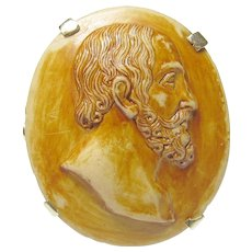 14K Yellow Gold Hand Carved Bearded Man Lava Cameo Ring 1920's Vintage