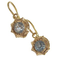 18K Yellow Gold Synthetic Round Blue Rhinestone Earrings 0.80 Cts 1930's Vintage