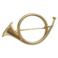 14K Yellow Gold French Horn Brooch 1910's Edwardian