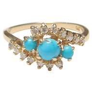14K Yellow Gold Natural Blue Turquoise And Diamond Ring 0.40 Cts 1960's Vintage