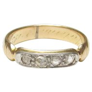 14K Yellow And White Gold Rose Cut Diamond Band Style Ring 0.12 Cts 1920's Art Deco