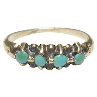 10K Yellow Gold Four Blue Turquoise Baby Ring 1890's Victorian