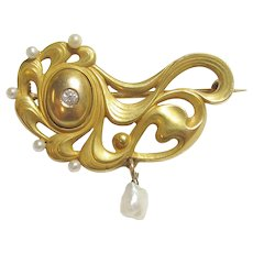 14K Yellow Gold 0.03 Ct European Cut Diamond And Natural Pearl Brooch 1910's Art Nouveau