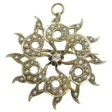 10K Yellow Gold 0.06 Ct Mine Cut Diamond Natural Seed Pearl Brooch/Pendant 1890's Victorian