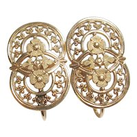 10K Yellow Gold Floral Cut Out Design Screw Back Earrings 1940's Vintage