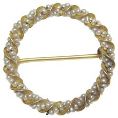 10K Yellow Gold Natural Seed Pearl Circle Brooch 1910's Edwardian