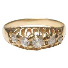 14K Yellow Gold Five Mine Cut Diamond Band Style Ring 0.30 Cts 1900's Edwardian