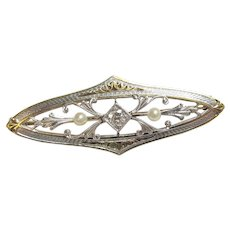 14K Yellow Gold And Platinum 0.06 Ct European Cut Diamond Seed Pearl Brooch 1900's Edwardian