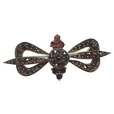 Gold Filled Old Cut Natural Red Garnet Bow Brooch 5.00 Cts 1930's Vintage