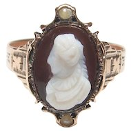 14K Yellow Gold Hand Carved Lady Agate Stone Cameo And Pearl Ring 1880's Victorian