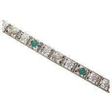 10K White Gold European Cut Diamond Chatham Emerald Filigree Bracelet 0.08 Cts 1930's Vintage