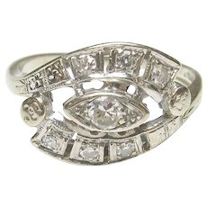 14K White Gold 0.08 Ct Brilliant Cut Diamond Ring 0.20 Cts Total 1940's Vintage