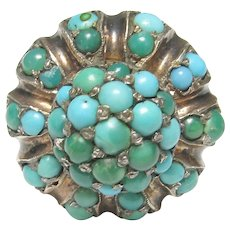 10K Yellow Gold Natural Green And Blue Turquoise Ring 2.00 Cts 1870's Victorian