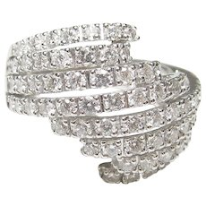 18K White Gold 72 Round Brilliant Cut Diamond Ring 1.10 Cts 1990's Vintage