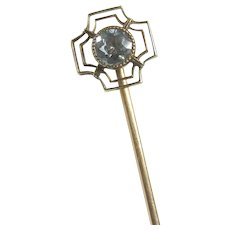 14K Yellow Gold 0.30 Ct Natural Light Blue Round Quartz Stick Pin 1890's Victorian