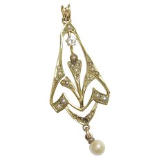 14K Yellow Gold 0.08 Ct Old European Cut Diamond And Pearl Lavaliere Pendant 1880's Victorian