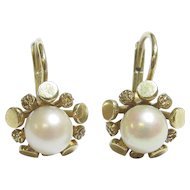 14K Yellow Gold 5.5 mm Saltwater Cultured Pearl Drop Earrings 1940's Vintage